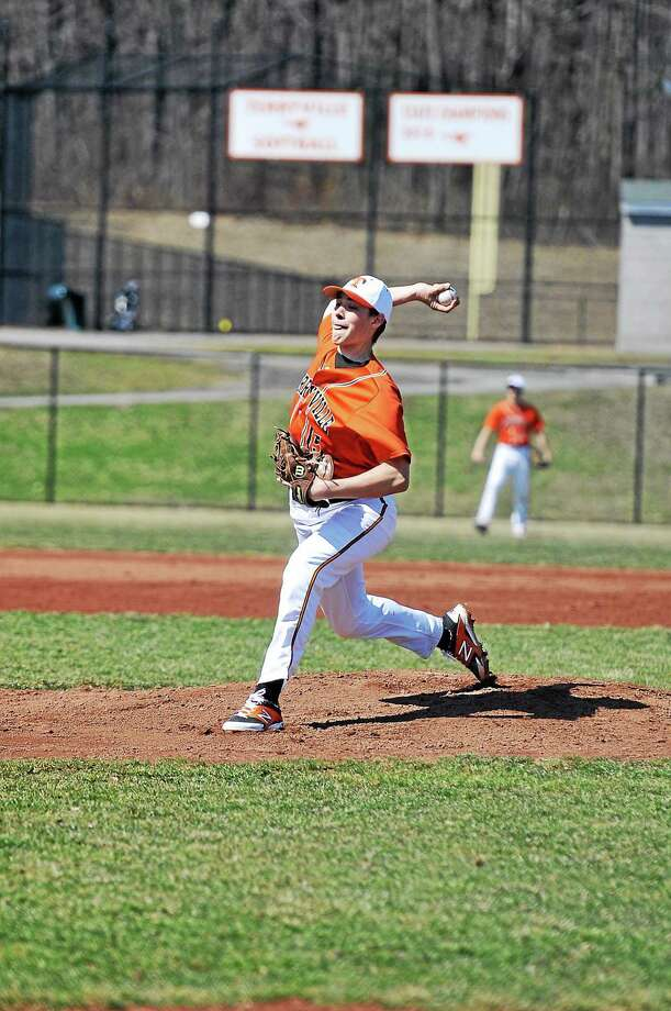 Terryville's Jeff Depaul pitches against St. Paul on Saturday. The Kangaroos fell to the Falcons 10-1. Photo: Laurie Gaboardi — Register Citizen