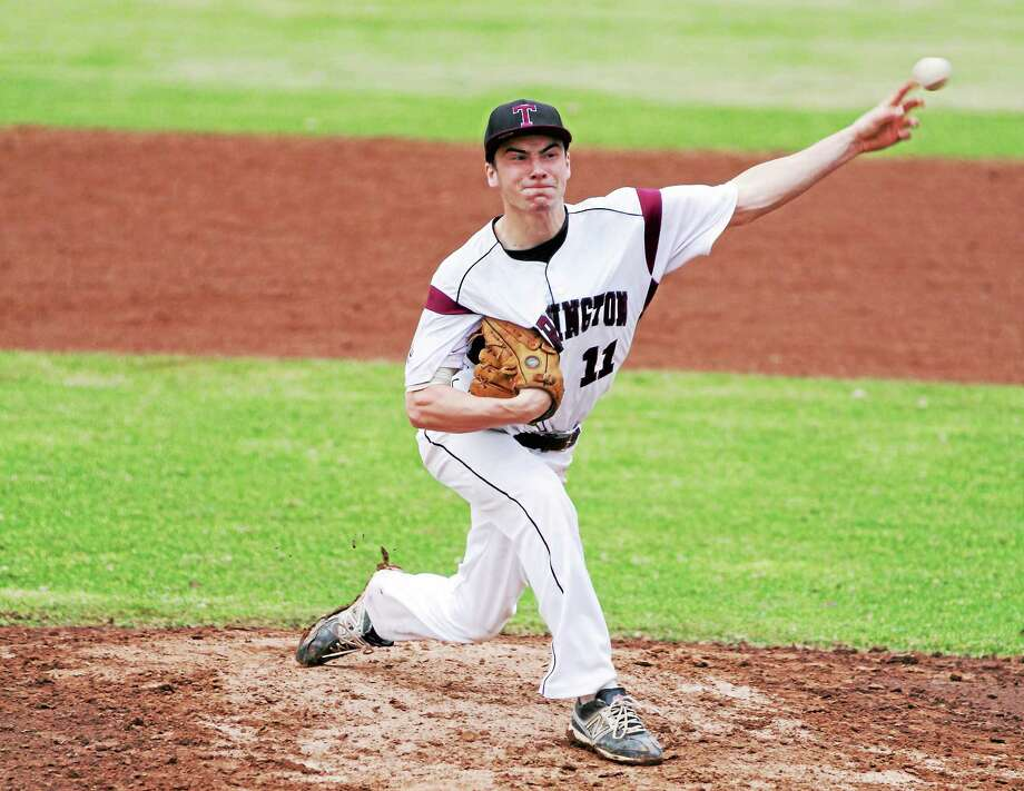 Torrington's Shane Bierfeldt pitched 8.2 innings in the Red Raiders' 1-0 loss to Seymour. Bierfeldt struck out 11 batters in the loss. Photo: Marianne Killackey — Special To The Register Citizen  / 2013
