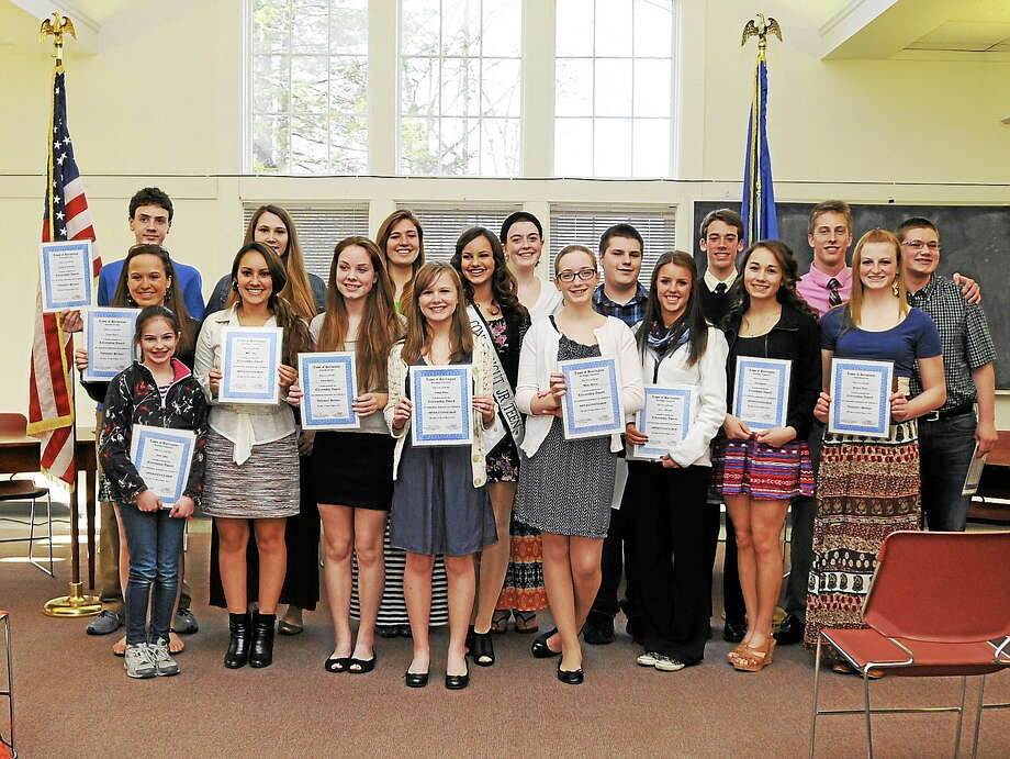 Students from Harwinton and Burlington were honored Thursday for community service in a ceremony at Town Hall. Laurie Gaboardi - The Register Citizen Photo: Journal Register Co.