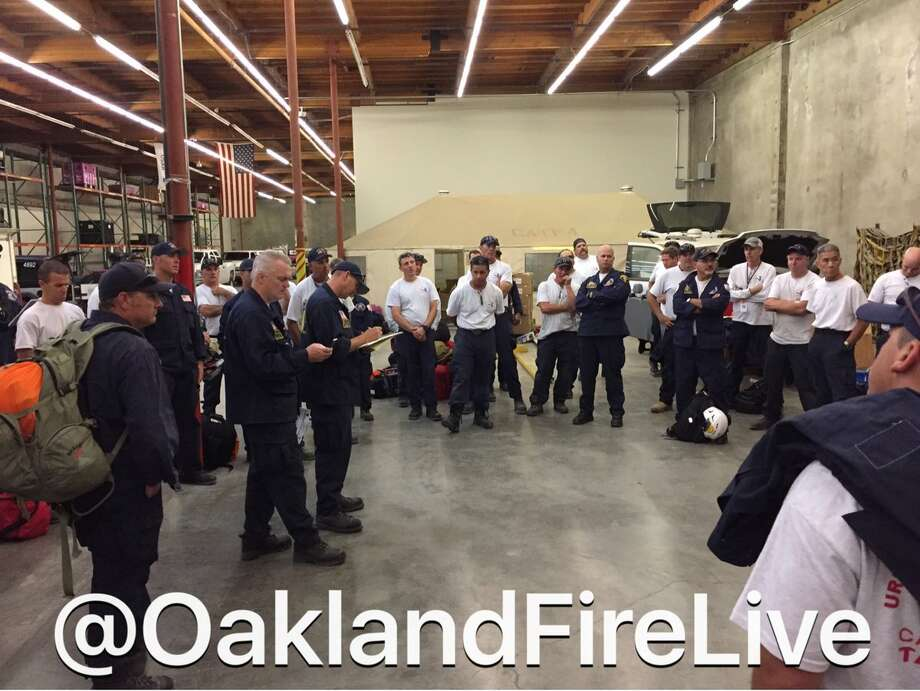 California Task Force 4 is briefed before they head to Texas as part of three groups looking to help the state following Hurricane Harvey. Photo: Courtesy @OaklandFireLive