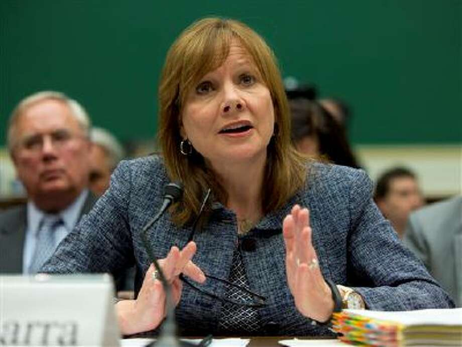 General Motors CEO Mary Barra testifies on Capitol Hill in Washington, Tuesday, April 1, 2014, before the House Energy and Commerce subcommittee on Oversight and Investigation. The committee is looking for answers from Barra about safety defects and mishandled recall of 2.6 million small cars with a faulty ignition switch that's been linked to 13 deaths and dozen of crashes. (AP Photo/Evan Vucci) Photo: AP / AP