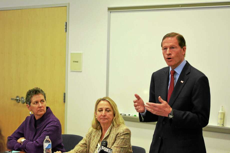 Sen. Richard Blumenthal joined Torrington Susan B. Anthony Project CEO Barbara Spiegel (left) and state Rep. Roberta Willis during a roundtable discussion on sexual assault Friday at Northwest Connecticut Community College. Photo: Ryan Flynn — Register Citizen