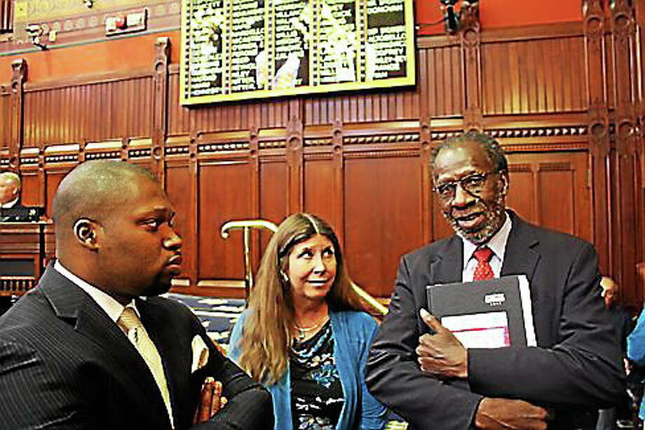 Sen. Gary Holder-Winfield, Rep. Sandy Nafis, and former Rep. William Dyson, who is involved with the CCSU policy institute that released the report. Photo: CTNJ File Photo