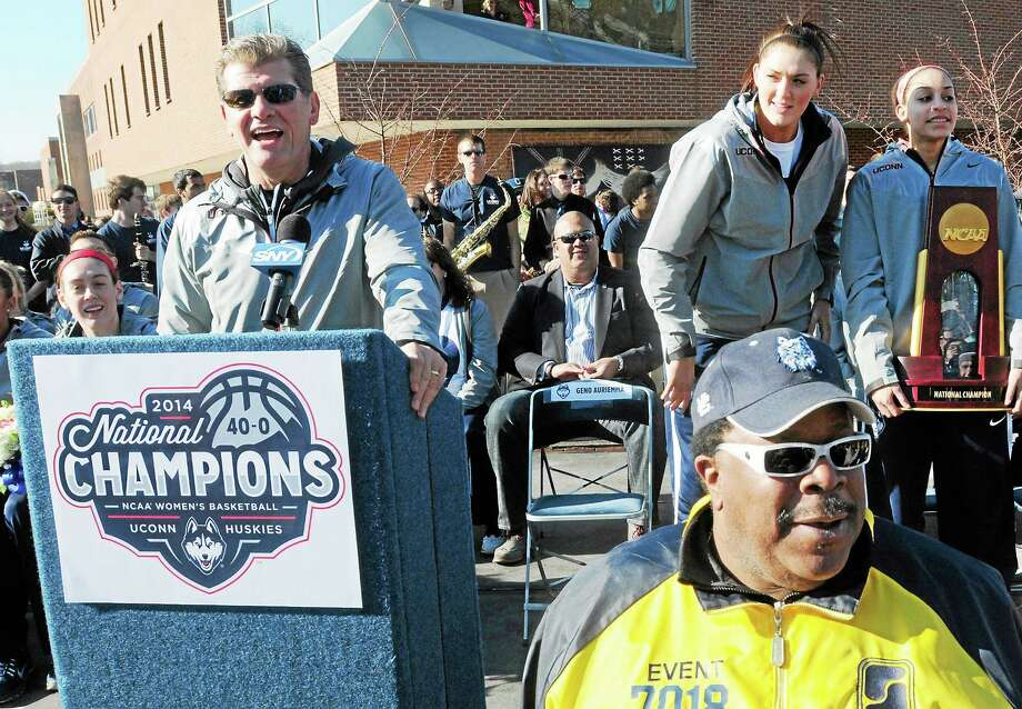 Coach Geno Auriemma speaks with fans as the UConn women's basketball team is welcomed back to Storrs on Wednesday after winning its ninth national championship on Tuesday night against Notre Dame. Photo: Peter Hvizdak — Register  / ©Peter Hvizdak /  New Haven Register