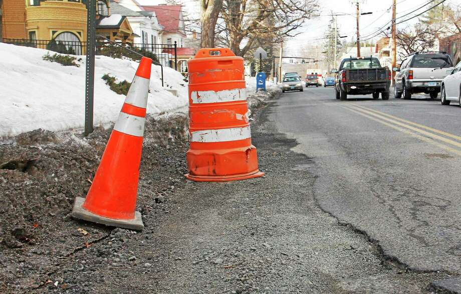 A freshly patched pothole on Prospect Street seen on Thursday, Feb. 27, 2014, in Torrington. Photo: Esteban L. Hernandez — File — Register Citizen