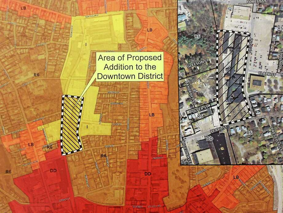 A zoning map highlighting 59 Field St., which was rezoned from industrial to downtown district on Wednesday, April 9, 2014, after a public hearing at City Hall in Torrington. Photo: Esteban L. Hernandez — Register Citizen