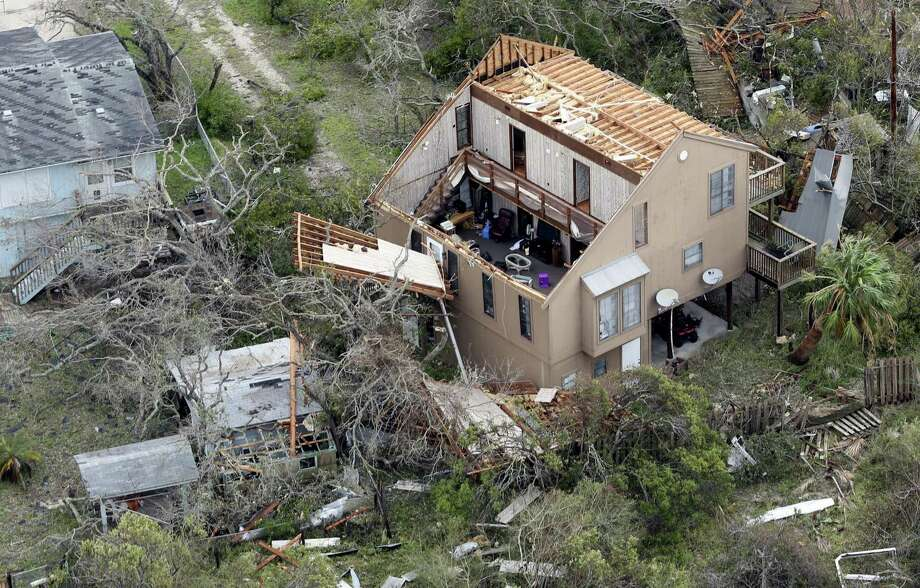A Hurricane Harvey-damaged home in Rockport on Sunday. The Texas Windstorm Association, the insurer of last resort in 14 Texas counties, including Aransas where Rockport is, had received more than 4,200 insurance claims as of 2 p.m. Monday. Photo: William Luther /San Antonio Express-News / © 2017 San Antonio Express-News