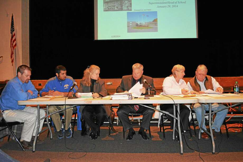 The remaining Winchester Board of Selectmen after the two recent resignations. From left: Daniel Langer, Jorge Pimentel, Candace Bouchard, Town Manager Dale Martin, Candy Perez and George Closson. Photo: Ryan Flynn — Register Citizen