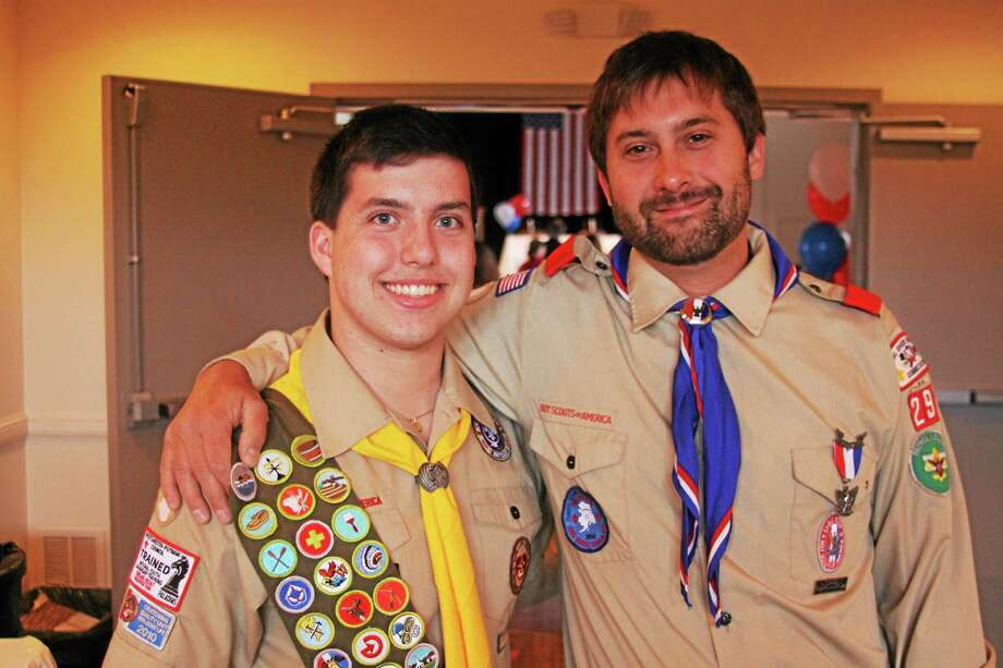 Ryan with his science teacher and fellow Eagle Scout, Shawn Mullen of Litchfield. Nine students from Forman have achieved the rank of Eagle in the last two years. Photo: Contributed Photo
