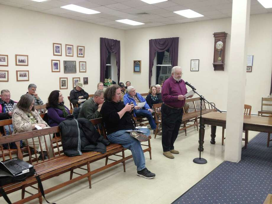 In this file photo from 2013, Stephen Kosinski was the first in a parade of audience members criticizing the Winsted Board of Selectmen's limits on public comment during meetings. Photo: Register Citizen File Photo