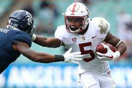SYDNEY, AUSTRALIA - AUGUST 27:  Connor Wedington of Stanford makes a break during the College Football Sydney Cup match between Stanford University (Stanford Cardinal) and Rice University (Rice Owls) at Allianz Stadium on August 27, 2017 in Sydney, Australia.  (Photo by Cameron Spencer/Getty Images)