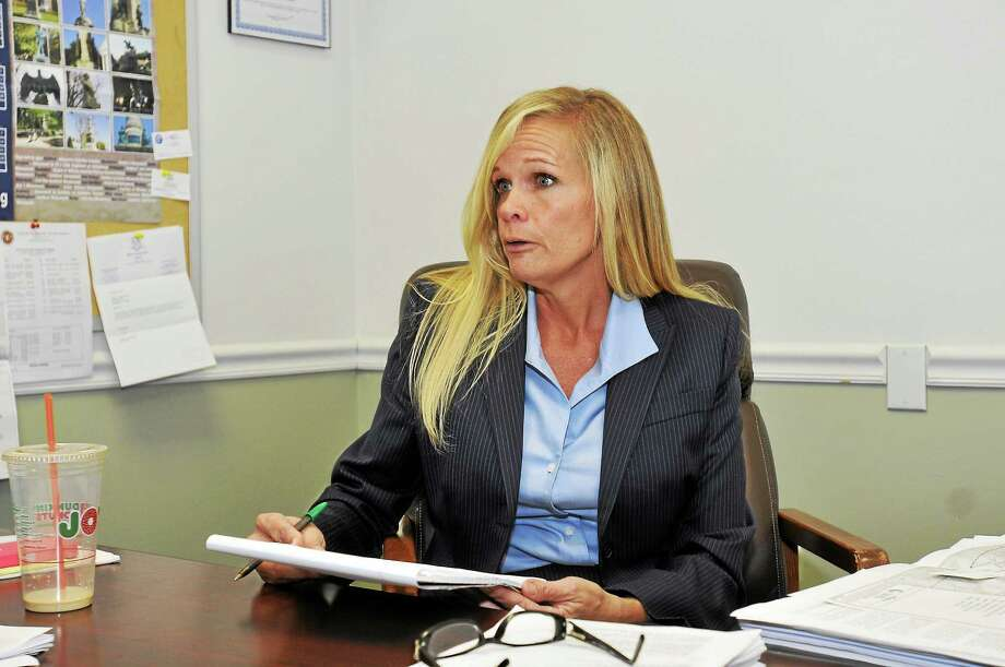 Winsted Mayor Lisa Smith speaks during an open house she held at Town Hall. Photo: Laurie Gaboardi — Register Citizen