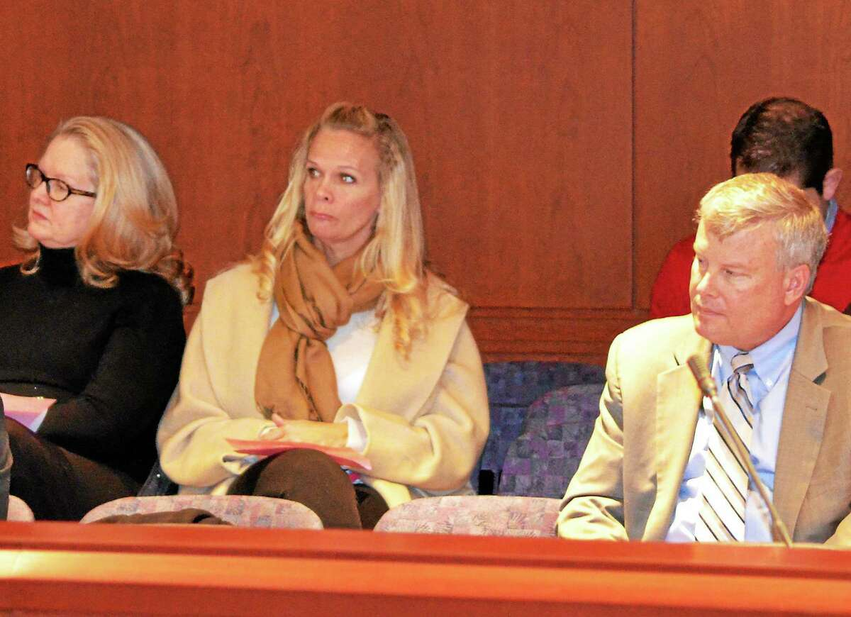 Kate Hartman-Register Citizen Winsted Selectman Candace Bouchard, Mayor Lisa Smith and Town Manager Dale Martin listen to the state Board of Education discuss Winchester schools during a meeting in Hartford in January.