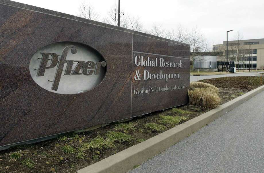 A Friday, March 2, 2012 photo shows the exterior of Pfizer in Groton. (AP Photo/Elise Amendola) Photo: AP / AP