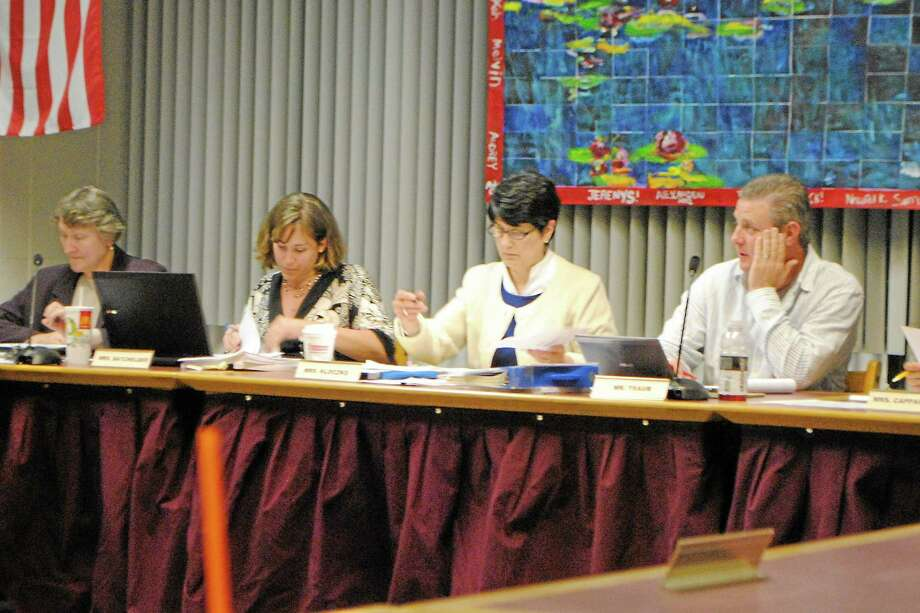 Superintendent of Schools Cheryl Kloczko (middle left) and Board of Education Chairman Ken Traub. Photo: Register Citizen File Photo
