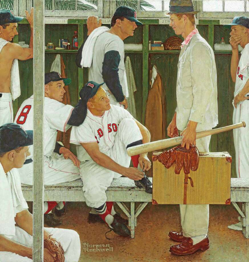 "This photograph of Norman Rockwell's 1957 painting ""The Rookie (Red Sox Locker Room)"" was provided by Christie's auction house in New York on Tuesday. The painting, showing pitcher Frank Sullivan, right fielder Jackie Jensen, catcher Sammy White, second baseman Billy Goodman and Hall of Famer Ted Williams, will be auctioned by Christie's on May 22, with a pre-sale estimate of $20 to $30 million. Photo: Christie's — The Associated Press  / Christie's"