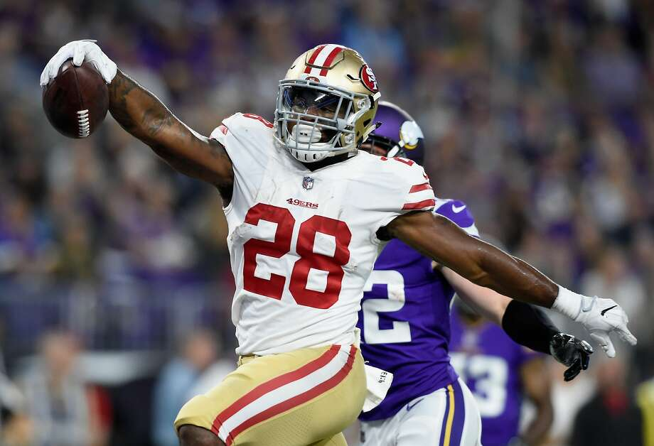MINNEAPOLIS, MN - AUGUST 27: Carlos Hyde #28 of the San Francisco 49ers runs the ball in for a touchdown against the Minnesota Vikings during the second quarter in the preseason game on August 27, 2017 at U.S. Bank Stadium in Minneapolis, Minnesota. (Photo by Hannah Foslien/Getty Images) Photo: Hannah Foslien, Getty Images