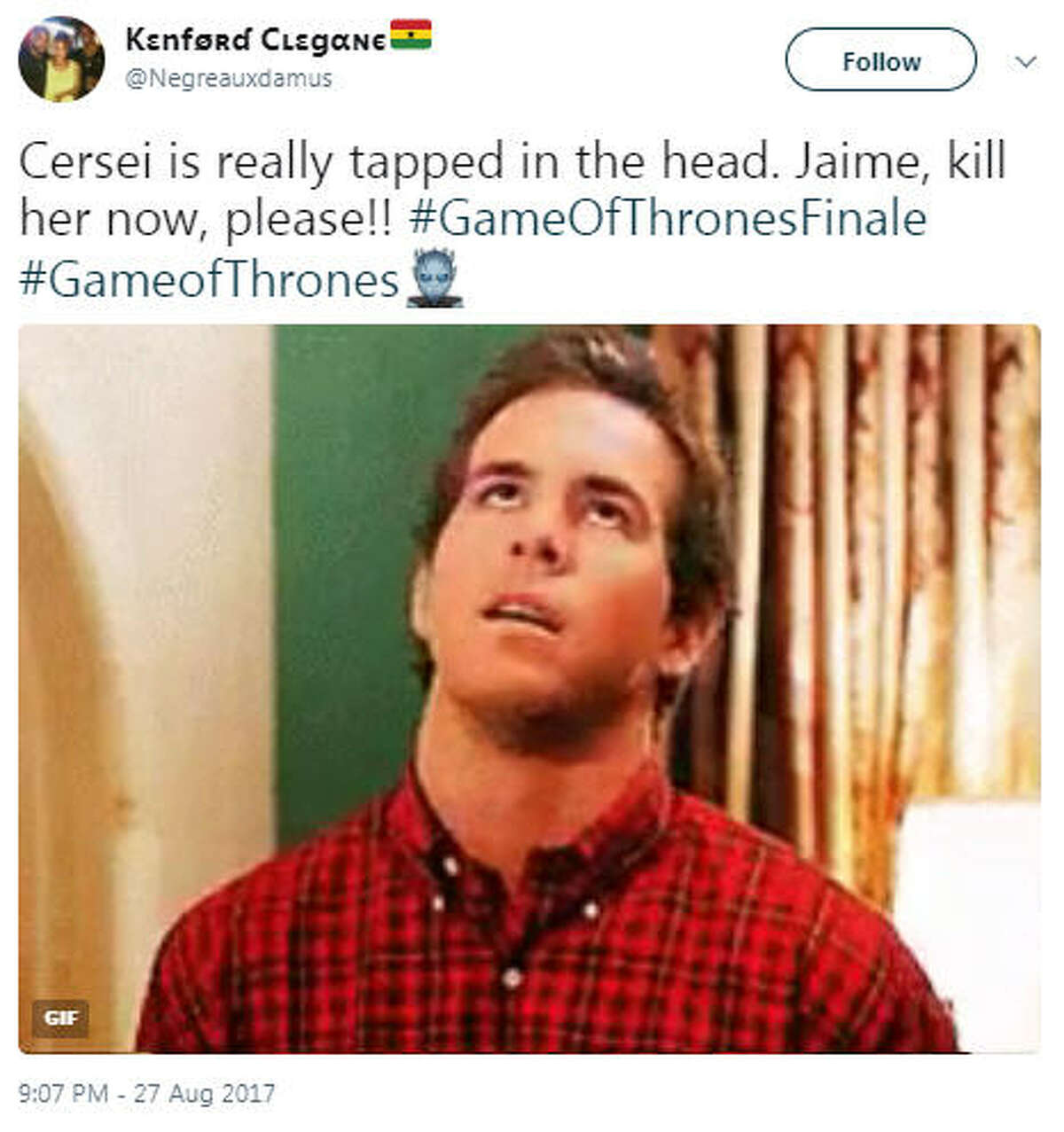 """""""Cersei is really tapped in the head. Jaime, kill her now, please!! #GameOfThronesFinale #GameofThrones"""" Source: Twitter The incestuous relationship between the Lannister twins seemingly came to an end at the end of Season 7."""
