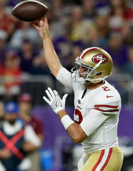 MINNEAPOLIS, MN - AUGUST 27: Brian Hoyer #2 of the San Francisco 49ers passes the ball against the Minnesota Vikings during the second quarter in the preseason game on August 27, 2017 at U.S. Bank Stadium in Minneapolis, Minnesota. (Photo by Hannah Foslien/Getty Images) Photo: Hannah Foslien, Getty Images