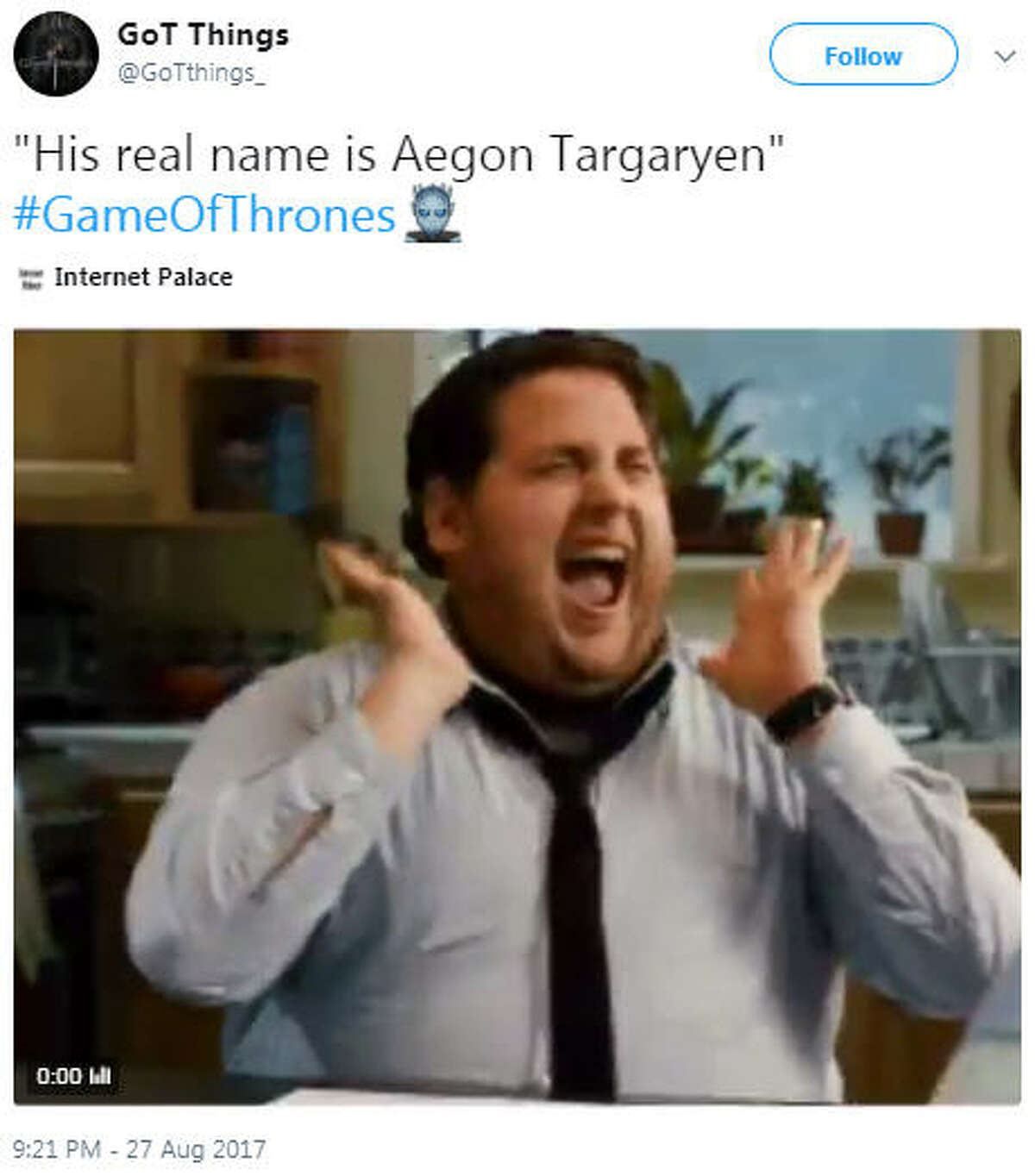 """""""His real name is Aegon Targaryen"""" #GameOfThrones """" Source: Twitter The season seven finale provided the biggest reveal in the series so far: Jon Snow is actually the legitimate son of Rhaegar Targaryen and Lyanna Stark. Thus, making him the true heir to the Iron Throne."""