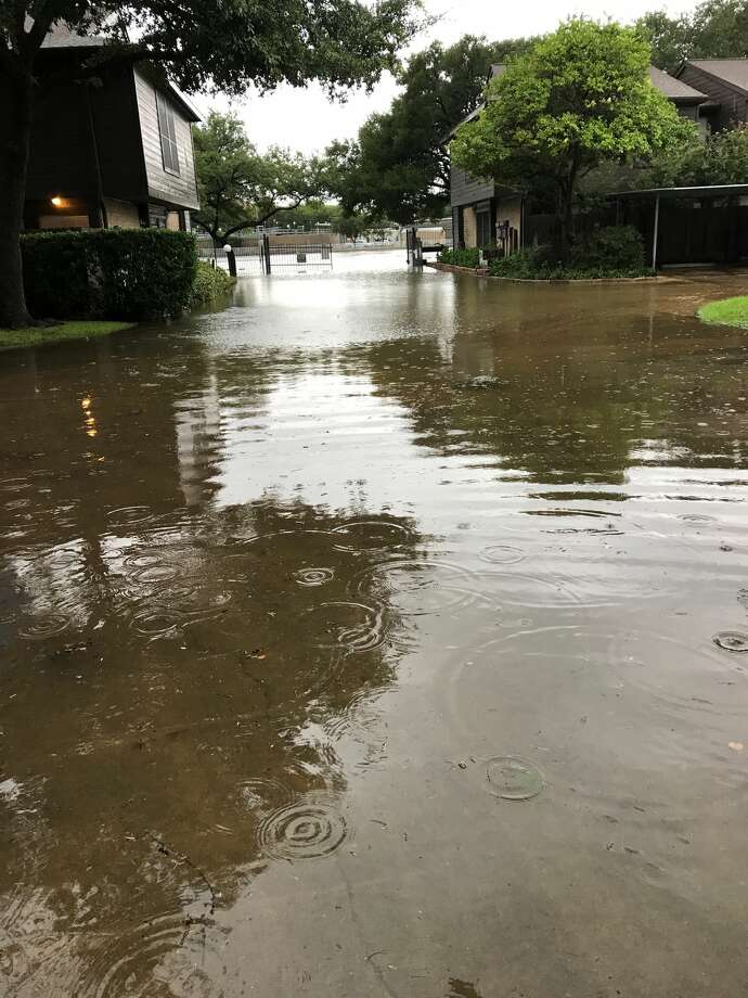 A reader submitted this photo of flooding on Braeswood, near Kirby. Photo: Lindsey Hale