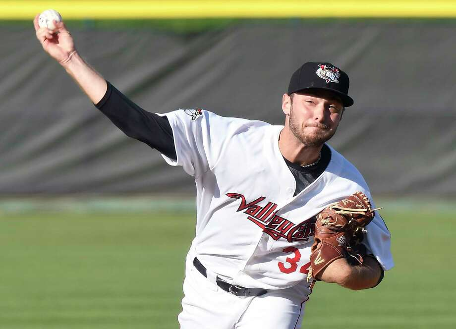 Tri-City ValleyCats' Corbin Martin (34) pitches against the Lowell Spinners during a minor league baseball game on Sunday, Aug. 27, 2017, in Troy, N.Y. (Hans Pennink / Special to the Times Union)  ORG XMIT: HP104 Photo: Hans Pennink / Hans Pennink