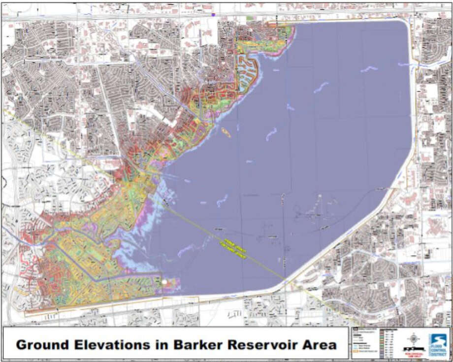 The ground elevations in Barker Reservoir area. Photo: Harris County