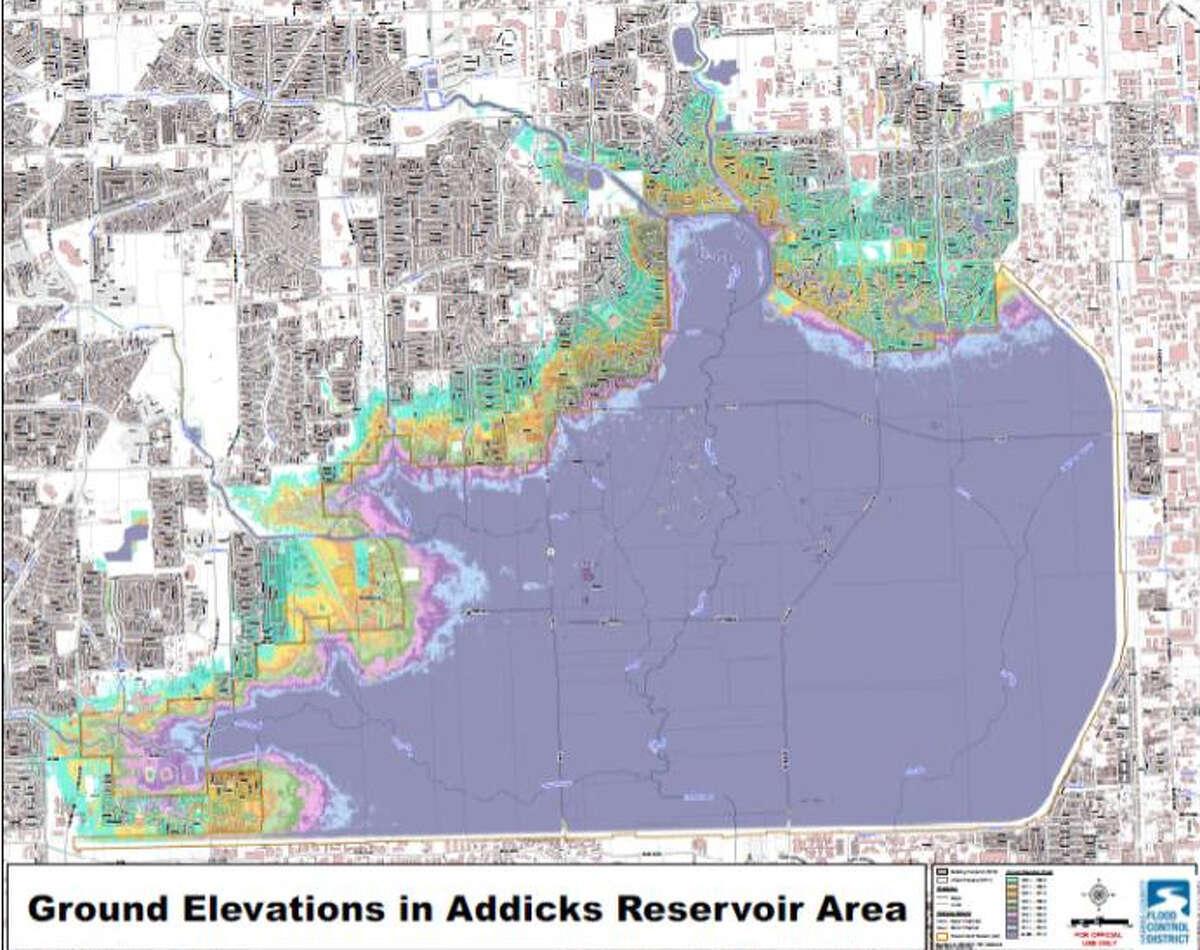 The ground elevations in Addicks Reservoir area.