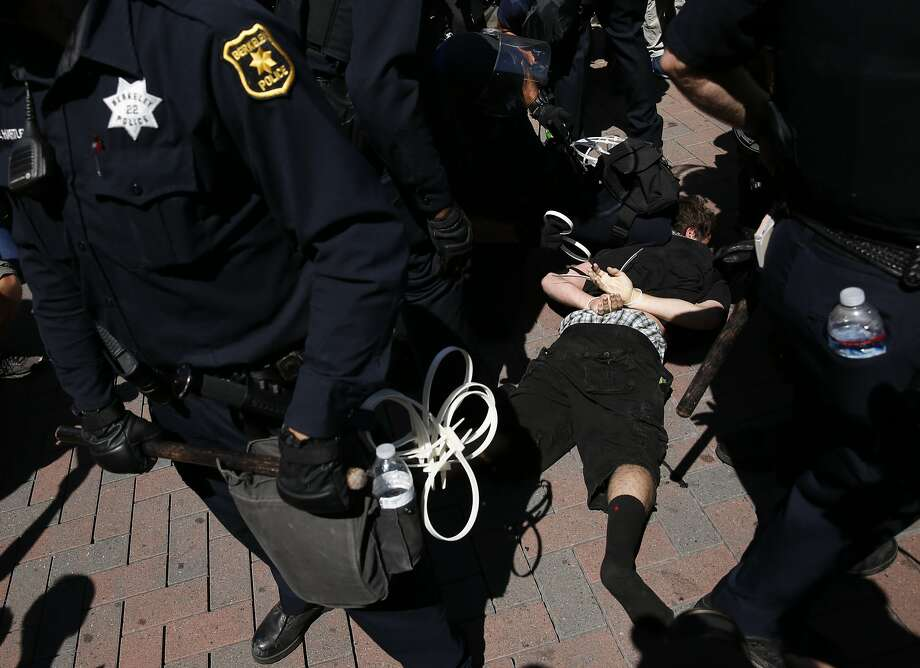 A protester is detained by Berkeley police after an angry crowd followed three conservative rally attendees before pushing them out of Martin Luther King Jr. Civic Center Park on August 27, 2017. Photo: Leah Millis, The Chronicle