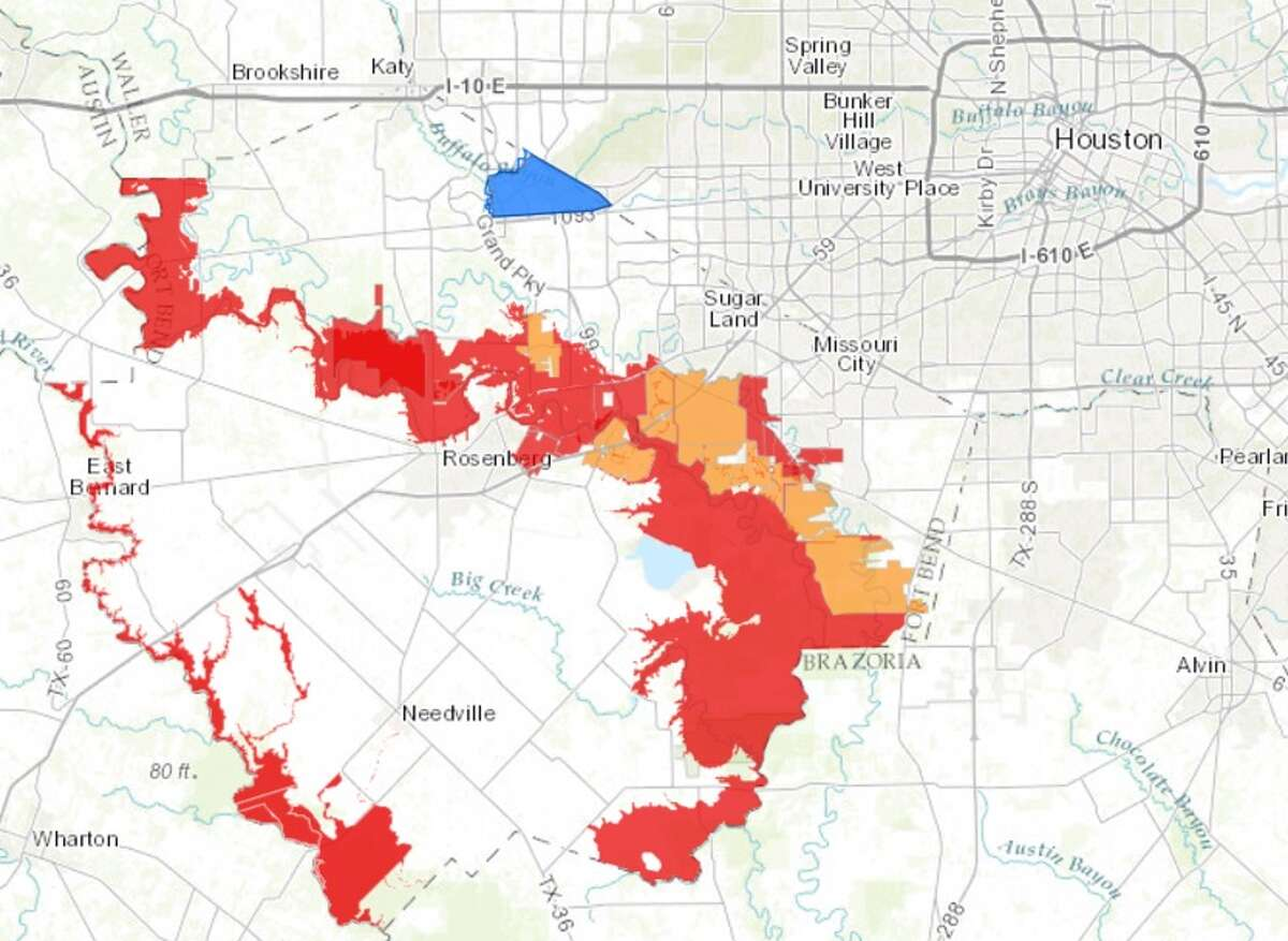 Evacuation areas as of Monday, Aug. 28, 2017. https://fbcgis.maps.arcgis.com/apps/webappviewer/index.html?id=d1a054f74789410bbe35bed305c81841