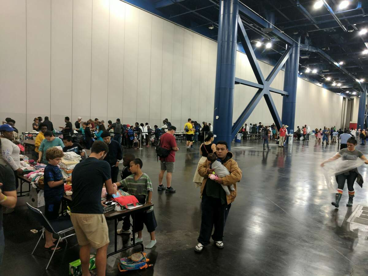 A reader submitted photos from the shelter set up inside the George R. Brown Convention Center on Sunday night, Aug. 27, 2017.