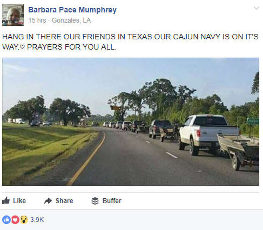 The Cajun Navy from Louisiana has arrived to East Texas to help Hurricane Harvey victims.Image source: Facebook Photo: Barbara Pace Mumphrey