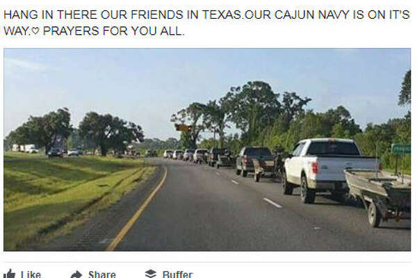 The Cajun Navy from Louisiana has arrived to East Texas to help Hurricane Harvey victims.  Image source:  Facebook