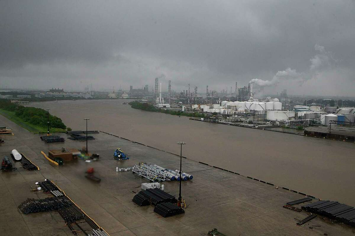 The refinery section of the Houston Ship Channel is seen as flood water rise on August 27, 2017.