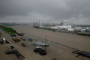 The refinery section of the Houston Ship Channel is seen as flood water rise on August 27, 2017 as  Houston battles with tropical storm Harvey and resulting floods. / AFP PHOTO / Thomas B. SheaTHOMAS B. SHEA/AFP/Getty Images