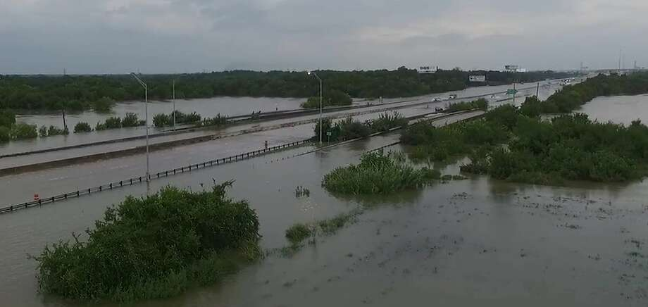 Sunday drone footage of the flood waters over League City. Photo: Stringr For Chron.com Video Screengrab