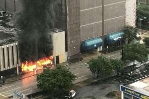 A building downtown was ablaze Monday, Aug. 28, 2017.