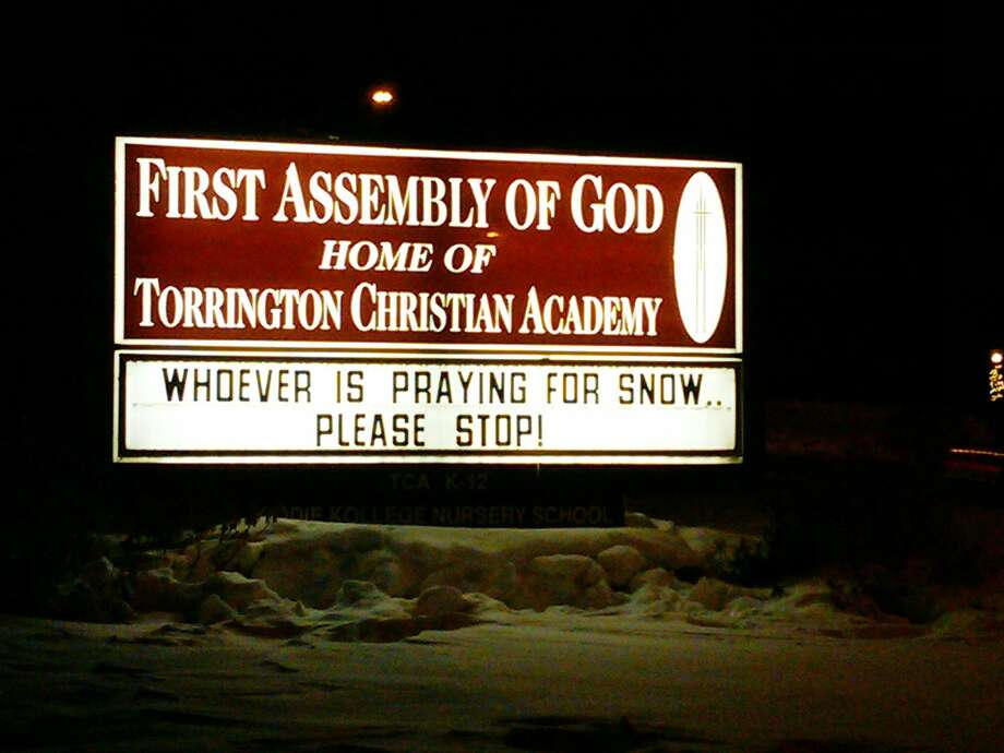 """No More Snow! The First Assembly of God has something to say about all the snow. Can we get an """"Amen?"""""""