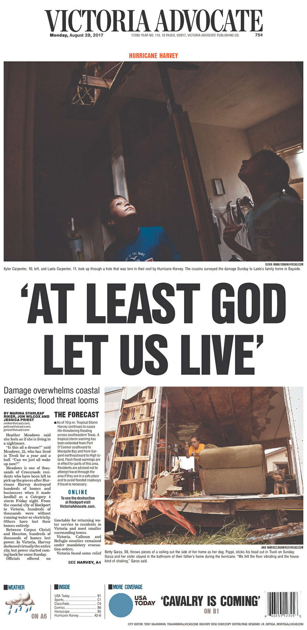 Victoria Advocate: Victoria, Texas Front pages from Texas and beyond for Monday, Aug. 28, 2017, show how newspapers covered the catastrophic floods in Houston due to Tropical Storm Harvey.