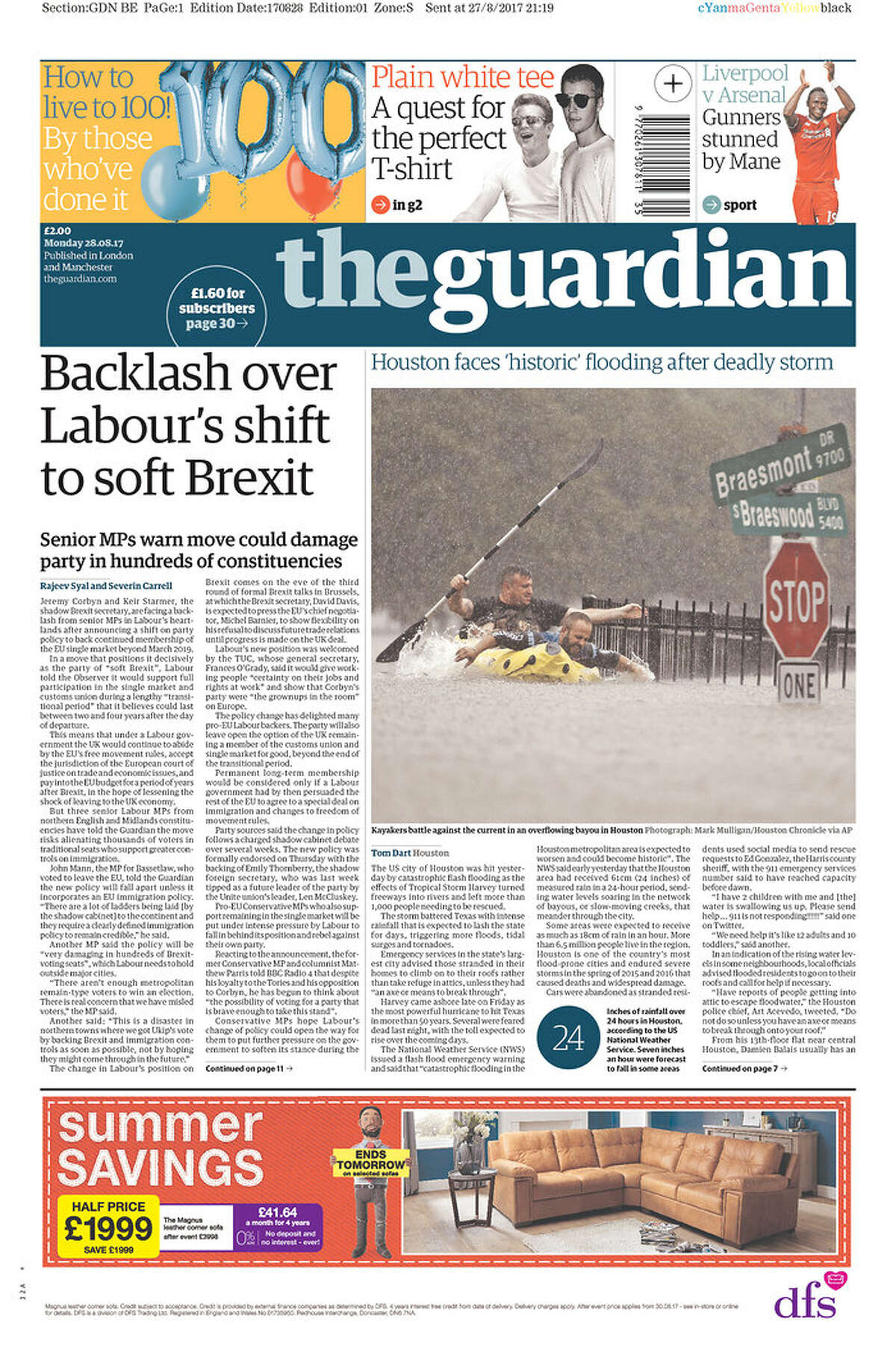 The Guardian: London, UK Front pages from Texas and beyond for Monday, Aug. 28, 2017, show how newspapers covered the catastrophic floods in Houston due to Tropical Storm Harvey.