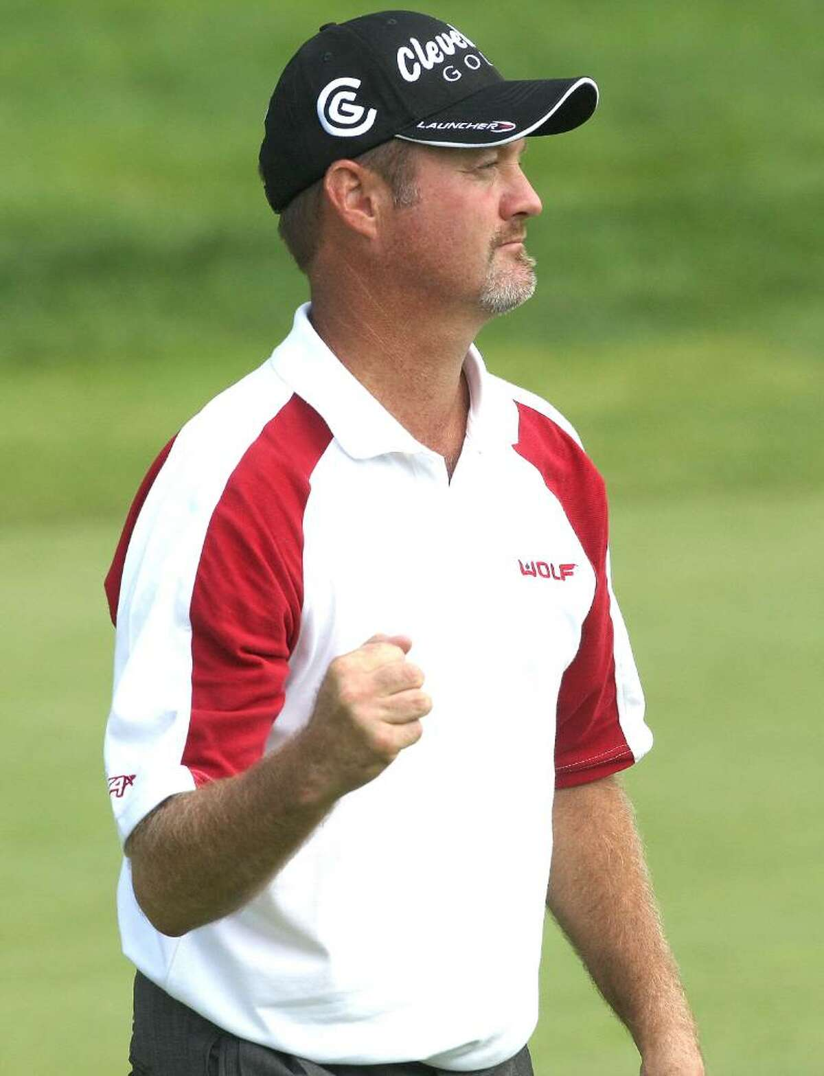 CROMWELL, CONNECTICUT - JUNE 27: Jerry Kelly reacts during round three of the 2009 Travelers Championship at TPC River Highlands on June 27, 2009 in Cromwell, Connecticut. (Photo by Jim Rogash/Getty Images) *** Local Caption *** Jerry Kelly