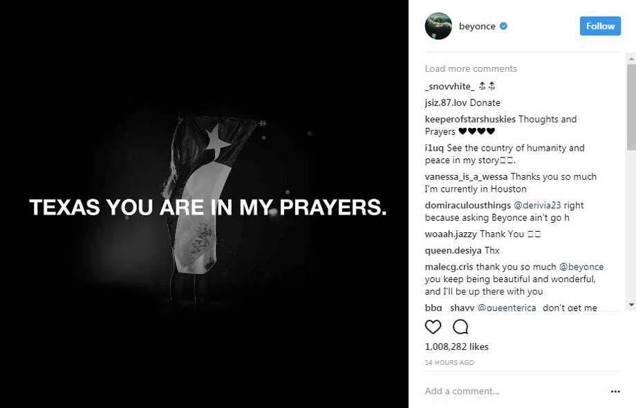 "Celebrities have been showing their support for Texans affected by Tropical Storm Harvey on social media, including giving tips on where to donate. Click through the slideshow to see how A-listers and athletes are reacting to the news.Beyonce shared an Instagram photo with the words: ""Texas you are in my prayers."" Photo: Instagram Screenshot"