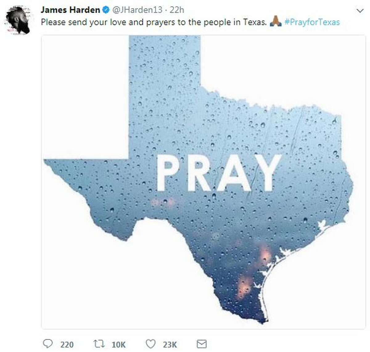 @JHarden13: Please send your love and prayers to the people in Texas. #PrayforTexas