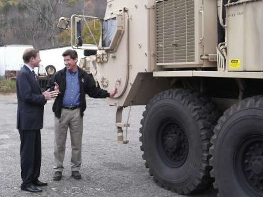 FILE: Martin Marola of Tru-Hitch explains how the vehicles his company makes for the Army work to Senator Richard Blumenthal.