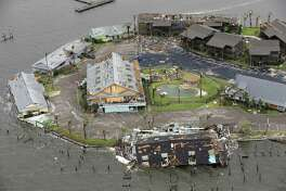 Damage caused by Hurricane Harvey to Key Allegro in Rockport, Texas is seen in a Sunday, Aug. 27, 2017 aerial photo. The eye of the Category 4 storm passed directly over Rockport as it made landfall late Friday night, Aug 25, 2017.