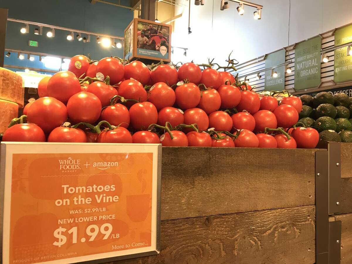 Seattle's Whole Foods Market location in Interbay unveiled lower prices on Monday, Aug. 28, 2017, the day the grocery chain's $13.7 million purchase by Amazon became official.