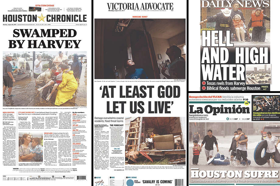 Newspaper Front Pages Show Harvey's Destructive Impact In