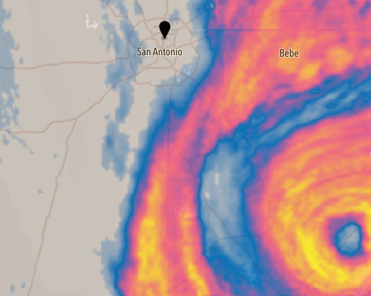 A weather radar image from the Dark Sky weather app taken Saturday, Aug. 26, 2017, shows just how close Hurricane Harvey came to striking San Antonio.