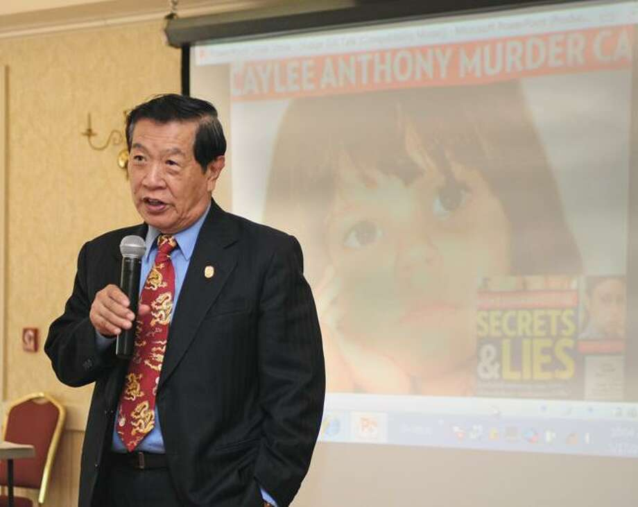 Renowned forensics expert Dr. Henry Lee speaks Thursday morning at the first 'Candid Conversations' hosted by the Northwest Connecticut's Chamber of Commerce. (RICK THOMASON / Register Citizen)