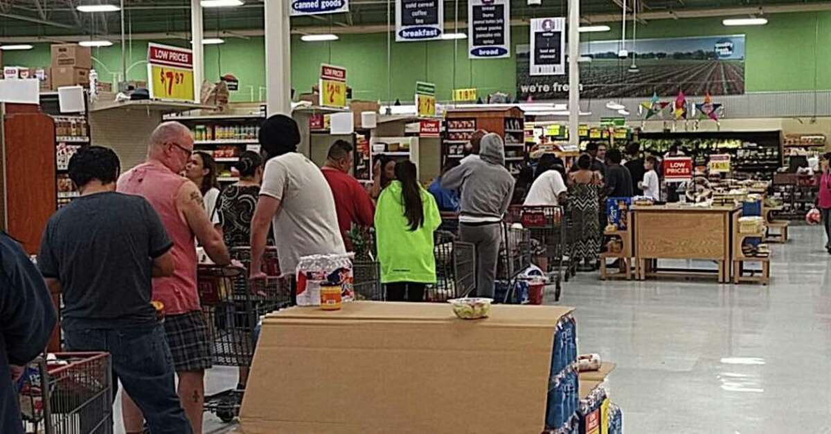 The H-E-B store located at Kempwood and Gessner was open Sunday, Aug. 27, 2017 after Tropical Storm Harvey flooded most of the city of Houston earlier in the day. Anne Rousseau Moran posted this photo her husband, Manuel Moran took, to a neighborhood Facebook group saying: